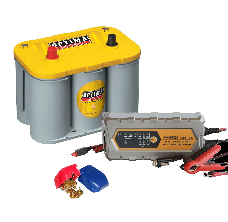 Mover Batterie Set Optima Yellow Top YT S 4.2 55Ah, Ladegerät & Schnellverschlussklemmen